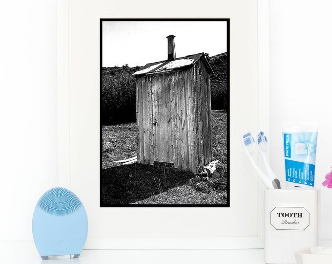 Modern Farmhouse Decor / Funny Bathroom Art / Rustic Wall Art /  Wall Decor / Powder Room Framed Prints / Outhouse Photo / Black and White