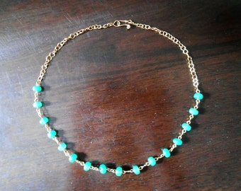 Figure-Eight Brass And Emerald Necklace