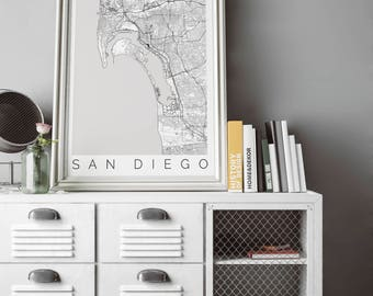 Map of San Diego, CA - Fits IKEA frame - Home Decor - Wall Art - Wanderlust - San Diego Print - Travel Map - Housewarming-Long Distance Love