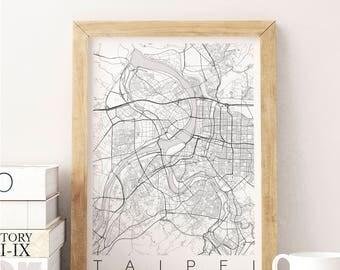 Map of Taipei, Taiwan - Fits IKEA frame - Home Decor - Wall Art - Wanderlust - World Map Print - Travel Map- Housewarming-Long Distance Love