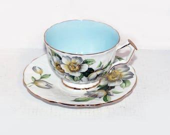 Aynsley English Bone China Teacup & Saucer Cream, Apple Blossoms - 1885