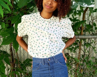 80s Dragonfly Print Blouse, Womens Vintage Blouse, Dragonfly Print Top, Vintage Print Blouse, 80s Vintage Blouse, Small Vintage Blouse
