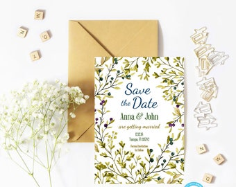 Save the Date Template, Save the Date Template, Boho Save the Date Template, You Edit, Rustic Save the Date Template, DIY Save Date, Floral