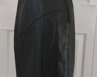 Vintage High Waist Leather Pencil Skirt/Saks Fifth Ave/High Waist Pencil Skirt