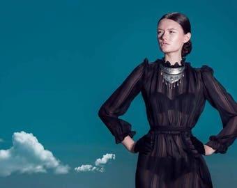 Vintage 70s Long Sleeve Black Sheer Dress