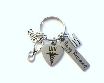 Retirement Gift for LVN Nurse Keychain, 2018 Licensed Vocational Nursing Keyring, Retire Key Chain Present him her women Stethoscope charm