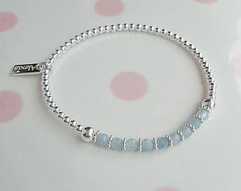 Aquamarine Bracelet, Aquamarine Jewellery, March Birthstone, Blue Green Ombre, Delicate Stacking Bracelet, Aquamarine Jewelry, Gift For Wife