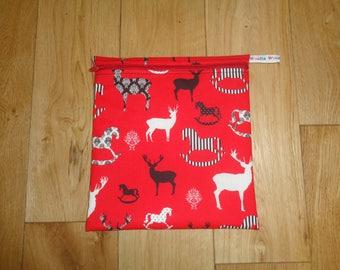Bikini Bag - Toiletries Bag - Make Up Bag - Sandwich bag  -  Eco - Craft Bag - Large Poppins Waterproof Lined Zip Pouch - Stag Horse Deer