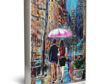 Rainy Day Painting, New York Rain, Romantic Couple Walking, Umbrella in the Rain, Love Wall Art, People Painting