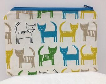 Zipper Pouch,  Cat Pencil Case, Cat Pouch, Make Up, Teacher Gift, Nappy Bag, Bag Organiser, Cosmetic bag, Teen gift, Christmas present