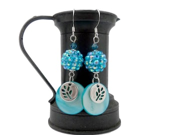 Turquoise Silver earrings, brass, Crystal, Pearl, glamorous sequins