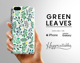 Phone case Green Leaves Pattern  iPhone 7 - iPhone SE - iPhone Plus - iPhone 6/6S - iPhone 5/5S - iPhone 5C - Samsung Galaxy S5 - S6 Edge