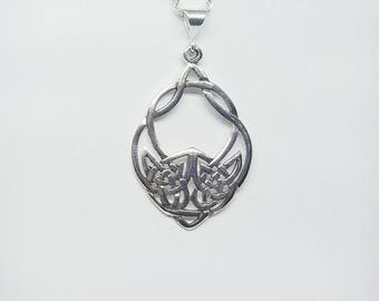 Wolf Necklace~Silver Celtic Wolf Necklace~Tribal Wolf Pendant~Wolf Head Charm Necklace~Wolf Charm Pendant~Celtic Knot Necklace~Wolf Jewelry