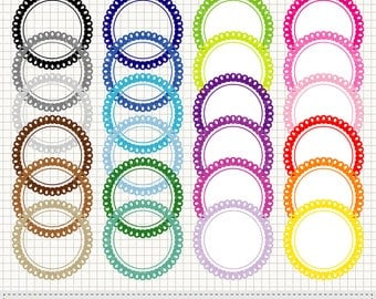 Round Scalloped Labels and Frames Clipart, Rainbow Scalloped Circle Labels Frames Clipart, Digital Printable Labels Frames, Vector Download