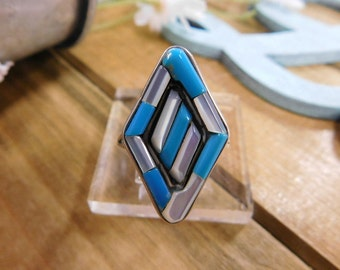 Mother of Pearl and Turquoise  Inlay Sterling Silver Ring- size 7.25