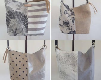 Reversible handbag, in cotton, burlap (Upcycling of coffee bag) and coated linen.