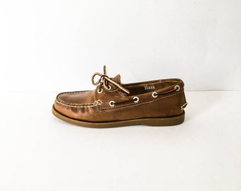 Leather loafers 6.5 M - Women's brown leather weejuns - GH Bass weejuns - Brown leather shoes - Loafers 6.5M