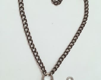Heart Shaped Lock Slave Collar BDSM Black Chain