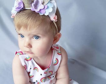 Rainbow Baby Unicorn Costume - Unicorn Horn Toddler Photo Prop -Bubbly