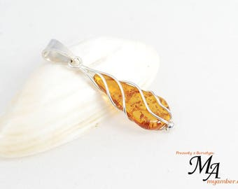 Amber stone Pendant Silver sterling 13637 AUTHOR'S +Certificate myamber.eu