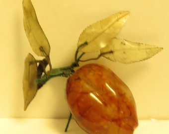 Vintage Hand Carved Carnelian Colored Quartz Peach w/ Quartz Crystal Leaves.