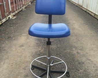 STEM DRAFTING STOOL - Retro 'Stem' Brand Blue Vinyl Drafting Chair.  With Swivel Seat, Adjustable Height & Chrome Footring. Vintage 1980s!