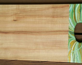 Wooden serving board, cheese board customised with original artwork