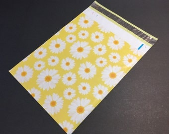 100 Designer Poly Mailers 10x13 Yellow White Daisies Envelopes Shipping Bags Spring Mother's Day