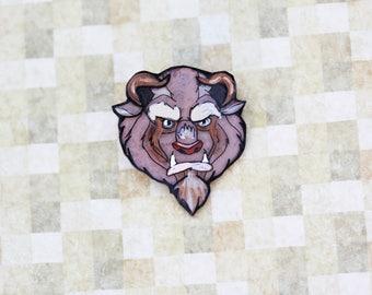 Beauty and the Beast Disney Brooch - Beast Pin - Hand Painted Shrink Plastic Brooch - Jolly HollieDay Disney Fantasy Pin