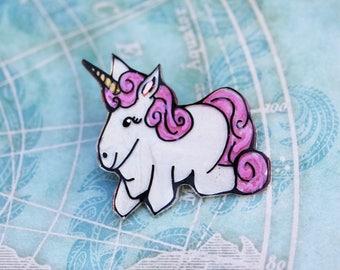Whimsical Unicorn Brooch - Handmade Shrink Plastic Chubby Unicorn Pin