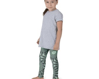 Kids Leggings, Nature Art Green Leggings for Girls, Children's Printed Yoga Pants, Mandala Design