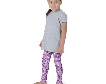 Plum Leggings for Girls, Purple and White Kids Yoga Leggings, Children's Printed Leggings