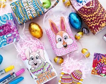 EASTER FAVOR BAGS - 8 pack – printable favor bag template for Easter, mini Easter gift bags, printable party favors, Easter gift bags Pdf