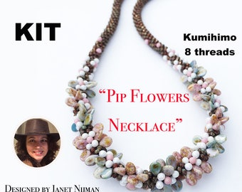 KIT Kumihimo 8 threads tutorial Pip flowers necklace