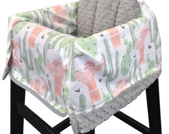 Cactus Restaurant High Chair Cover Coral Green