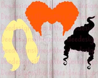 Hocus Pocus hair silhouettes SVG PNG cut file