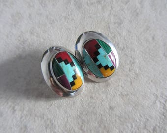 Large Vintage Southwestern Native American Style Multi Stone Inlay Concho Earrings - Colorful Earrings