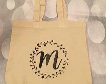 Personalized Tote Bag with Wreath; Initial Tote Bag