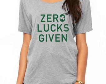 Zero Lucks Given Shirt - Shenanigans Shirt - Funny St Pattys Day Shirt Woman - Shamrock Bachelorette Shirts - Slouchy Tee - St Patricks Day