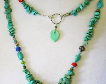 """Gorgeous Turquoise Extra long Strand, or Double Necklace 36"""" with Tree of Life"""