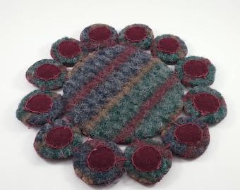 Penny Mat/ coaster/candle mat/ wool fabric