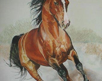 Free. Realistic acrylic painting on cotton canvas with wooden frame. Theme: Horse riding. Decorative and high quality.