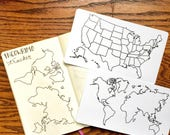 """World Map, USA Map Tracing Card, fits Traveler's Notebook, Leuchtturm and Moleskine 5"""" by 7"""""""