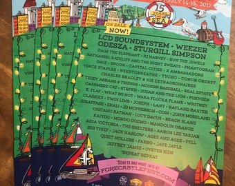 """3-Pack: High Quality Forecastle 2017 Lineup Poster - 17"""" x 11"""""""