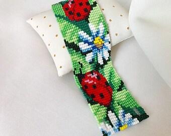 Lady Bug & Chamomile Bracelet, Daisy Flower Bead Bracelet, Ukrainian Bracelet ,Wide Bracelet with Viola, Bead Cuff Bracelet, Flower Bracelet