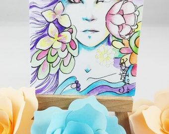 Original watercolor ACEO cocoa card fairy flower fantasy signed