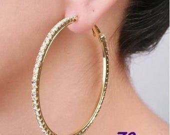 Rhinestone  Big Hoop Earrings, Oversize Hoop Earrings, Silver Hoop Earrings, Gold Hoop Earrings, Large Hoop Earrings, Huge hoop earrings
