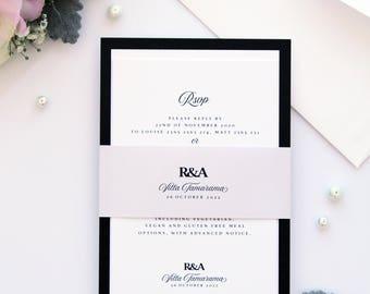 Melody Romantic Shades of Pastels Wedding Invitation Set, Elegant Wedding Stationery, Wedding Invitation Set Templates or Printed Invitation