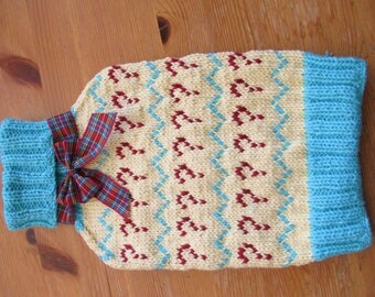 Knitted Hot Water Bottle Cover inspired by Doctor Who 7th Seventh Doctor Sylvester McCoy 100% cotton yarn Handmade