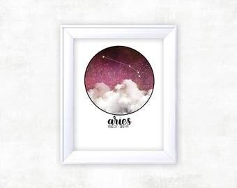 Zodiac Aries Print | Aries Zodiac | Zodiac Print | Constellation Art | Aries Star Sign | Space Decor | Constellation Print | Aries Wall Art